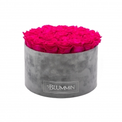 EXTRA LARGE BLUMMIN LIGHT GREY VELVET BOX WITH HOT PINK ROSES