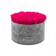 XL BLUMMiN - VELVET LIGHT GREY BOX WITH HOT PINK ROSES