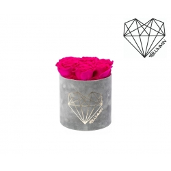 SMALL LOVE - LIGHT GREY VELVET BOX WITH HOT PINK ROSES