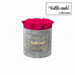 MEDIUM Kallile emale LIGHT GREY VELVET BOX WITH HOT PINK ROSES