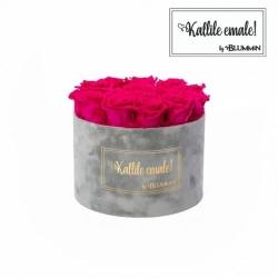 LARGE Kallile emale LIGHT GREY VELVET BOX WITH HOT PINK ROSES