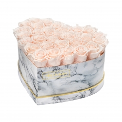 MARBLE FLOWERBOX WITH 29-31 ICE PINK ROSES