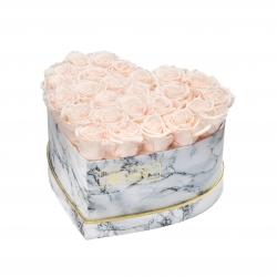 MARBLE FLOWERBOX WITH 25-27 ICE PINK ROSES