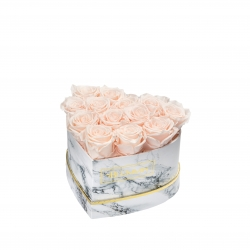 MARBLE FLOWERBOX WITH 13 ICE PINK ROSES