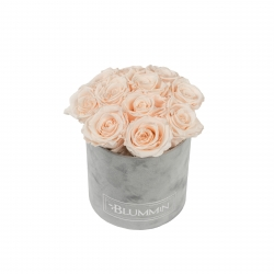 BOUQUET WITH 11 ROSES - SMALL BLUMMiN LIGHT GREY VELVET BOX WITH ICE PINK ROSES