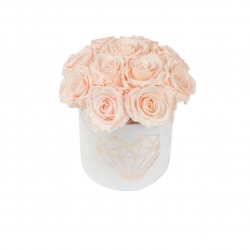 BOUQUET  WITH 11 ROSES - SMALL LOVE WHITE VELVET BOX WITH ICE PINK ROSES