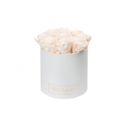 MEDIUM WHITE BOX WITH ICE PINK ROSES