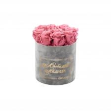 ЛЮБИМОЙ МАМОЧКЕ - MEDIUM LIGHT GREY VELVET BOX WITH VINTAGE PINK ROSES