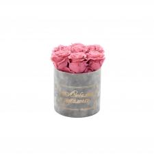 ЛЮБИМОЙ МАМОЧКЕ - SMALL LIGHT GREY VELVET BOX WITH VINTAGE PINK ROSES