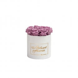 ЛЮБИМОЙ МАМОЧКЕ - SMALL WHITE VELVET BOX WITH LILAC ROSES