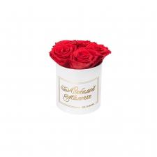 ЛЮБИМОЙ МАМОЧКЕ - MIDI WHITE BOX WITH VIBRANT RED ROSES