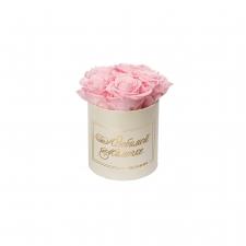 ЛЮБИМОЙ МАМОЧКЕ - MIDI CREAM WHITE BOX WITH BRIDAL PINK ROSES