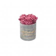 ЛЮБИМОЙ МАМОЧКЕ - MIDI LIGHT GREY VELVET BOX WITH VINTAGE PINK ROSES