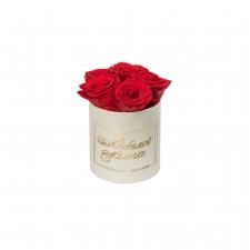 ЛЮБИМОЙ МАМОЧКЕ - MIDI CREAM WHITE BOX WITH VIBRANT RED ROSES