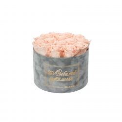 ЛЮБИМОЙ МАМОЧКЕ - LARGE (17 ROSES) LIGHT GREY VELVET BOX WITH PEACHY PINK ROSES
