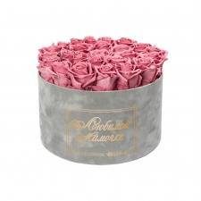 ЛЮБИМОЙ МАМОЧКЕ - EXTRA LARGE LIGHT GREY VELVET BOX WITH VINTAGE PINK ROSES