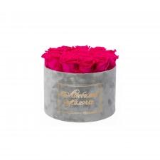 ЛЮБИМОЙ МАМОЧКЕ - LARGE (17 ROSES) LIGHT GREY VELVET BOX WITH HOT PINK ROSES