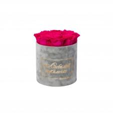 ЛЮБИМОЙ МАМОЧКЕ - MEDIUM LIGHT GREY VELVET BOX WITH HOT PINK ROSES