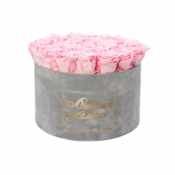 ЛЮБИМОЙ МАМОЧКЕ - EXTRA LARGE LIGHT GREY VELVET BOX WITH BRIDAL PINK ROSES