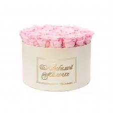 ЛЮБИМОЙ МАМОЧКЕ - EXTRA LARGE CREAM WHITE BOX WITH BRIDAL PINK ROSES