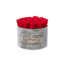 ЛЮБИМОЙ МАМОЧКЕ - LARGE (17 ROSES) LIGHT GREY VELVET BOX WITH VIBRANT RED ROSES