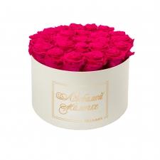 ЛЮБИМОЙ МАМОЧКЕ - EXTRA LARGE CREAM WHITE BOX WITH HOT PINK ROSES