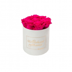 ЛЮБИМОЙ МАМОЧКЕ - MEDIUM WHITE VELVET BOX WITH HOT PINK ROSES