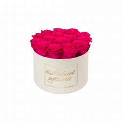 ЛЮБИМОЙ МАМОЧКЕ - LARGE (17 ROSES) CREAM WHITE BOX WITH HOT PINK ROSES