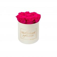 ЛЮБИМОЙ МАМОЧКЕ - MEDIUM CREAM WHITE BOX WITH HOT PINK ROSES