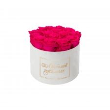 ЛЮБИМОЙ МАМОЧКЕ - LARGE (17 ROSES) WHITE VELVET BOX WITH HOT PINK ROSES