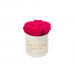 ЛЮБИМОЙ МАМОЧКЕ - SMALL CREAM WHITE BOX WITH HOT PINK ROSES
