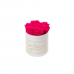 ЛЮБИМОЙ МАМОЧКЕ - SMALL WHITE VELVET BOX WITH HOT PINK ROSES