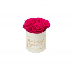 ЛЮБИМОЙ МАМОЧКЕ - MIDI CREAM WHITE BOX WITH HOT PINK ROSES