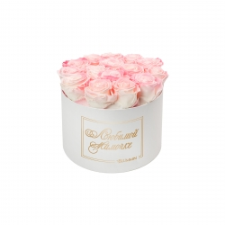 ЛЮБИМОЙ МАМОЧКЕ - LARGE (17 ROSES) WHITE BOX WITH LOVELY PINK ROSES