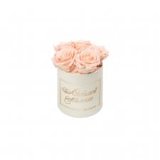 ЛЮБИМОЙ МАМОЧКЕ - MIDI CREAM WHITE BOX WITH PEACHY PINK ROSES