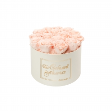 ЛЮБИМОЙ МАМОЧКЕ - LARGE (17 ROSES) CREAM WHITE BOX WITH PEACHY PINK ROSES