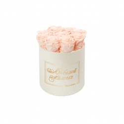 ЛЮБИМОЙ МАМОЧКЕ - MEDIUM CREAM WHITE BOX WITH PEACHY PINK ROSES