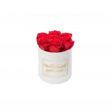 ЛЮБИМОЙ МАМОЧКЕ - SMALL WHITE VELVET BOX WITH VIBRANT RED ROSES