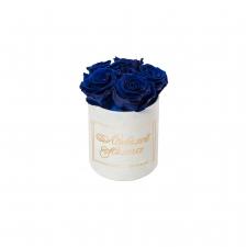 ЛЮБИМОЙ МАМОЧКЕ - MIDI WHITE VELVET BOX WITH OCEAN BLUE ROSES