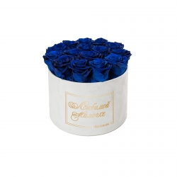 ЛЮБИМОЙ МАМОЧКЕ - LARGE (17 ROSES) WHITE VELVET BOX WITH OCEAN BLUE ROSES