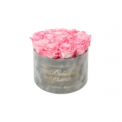 ЛЮБИМОЙ МАМОЧКЕ - LARGE (17 ROSES) LIGHT GREY VELVET BOX WITH CANDY PINK ROSES