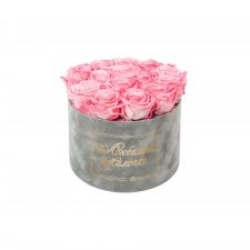 ЛЮБИМОЙ МАМОЧКЕ - LARGE (17 ROSES) LIGHT GREY VELVET BOX WITH CANDY PINK ROSES