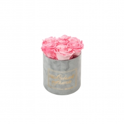 ЛЮБИМОЙ МАМОЧКЕ - SMALL LIGHT GREY VELVET BOX WITH CANDY PINK ROSES