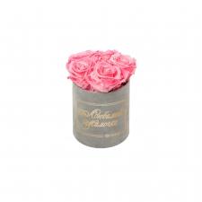 ЛЮБИМОЙ МАМОЧКЕ - MIDI LIGHT GREY VELVET BOX WITH CANDY PINK ROSES