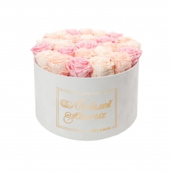 ЛЮБИМОЙ МАМОЧКЕ - EXTRA LARGE WHITE VELVET BOX WITH MIX (ICE PINK, BRIDAL PINK, PEACHY PINK) ROSES
