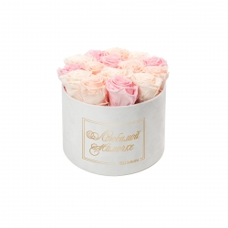 ЛЮБИМОЙ МАМОЧКЕ - LARGE (17 ROSES) WHITE VELVET BOX WITH MIX (ICE PINK, PEACHY PINK, BRIDAL PINK) ROSES