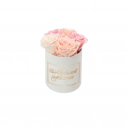 ЛЮБИМОЙ МАМОЧКЕ - MIDI WHITE VELVET BOX WITH MIX (ICE PINK, PEACHY PINK, BRIDAL PINK) ROSES