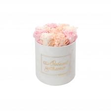 ЛЮБИМОЙ МАМОЧКЕ - MEDIUM WHITE VELVET BOX WITH MIX (ICE PINK, PEACHY PINK, BRIDAL PINK) ROSES