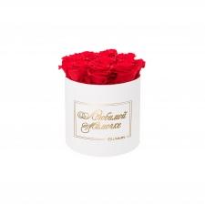 ЛЮБИМОЙ МАМОЧКЕ - MEDIUM WHITE BOX WITH VIBRANT RED ROSES