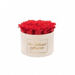 ЛЮБИМОЙ МАМОЧКЕ - LARGE (17 ROSES) CREAM WHITE BOX WITH VIBRANT RED ROSES